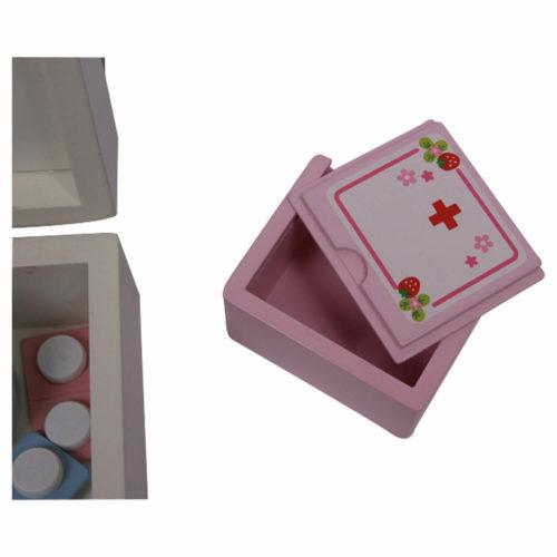 houten dokterskoffer met accessoires doosje