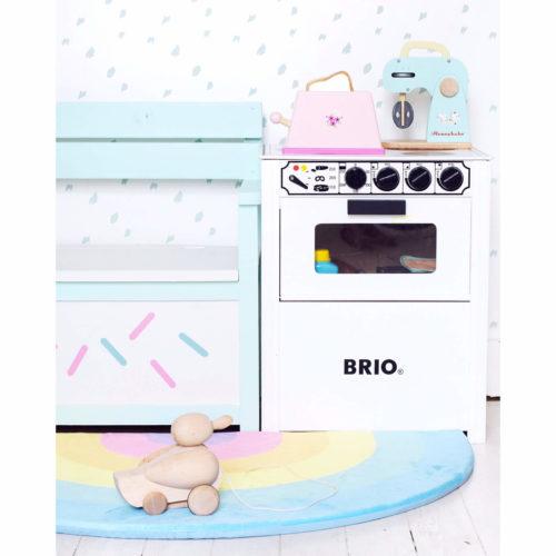 pastelroze broodrooster in speelkeuken Sassefras Meisjes Speelgoed