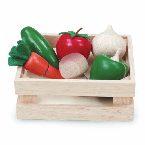 houten kistje met groente