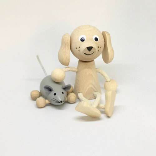 houten zitfiguur hond en muisje Sassefras Meisjes Speelgoed