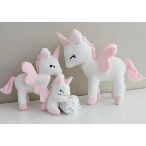 unicorn knuffeltje wit klein, medium en groot