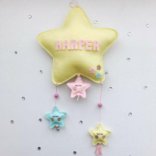 vilten naam mobiel ster geel Sassefras Meisjes Speelgoed