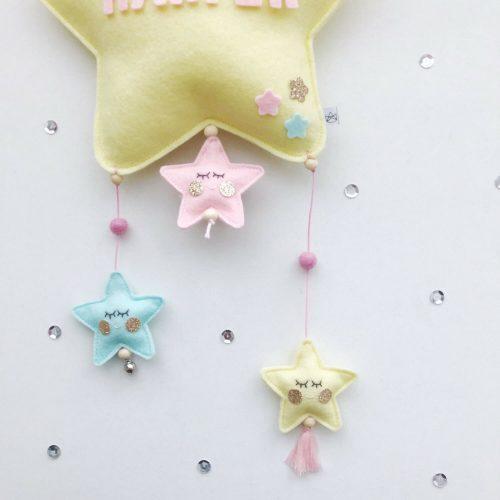 vilten naam mobiel ster geel detail Sassefras Meisjes Speelgoed