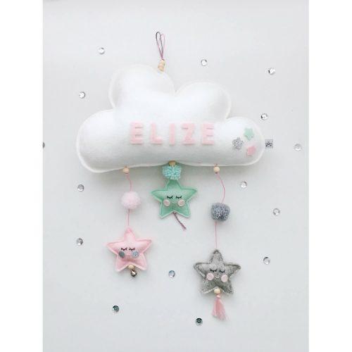 vilten naam mobiel wolk roze, mint en grijs Sassefras Meisjes Speelgoed