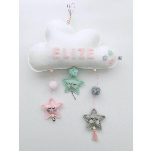 vilten naam mobiel wolk roze, mint en grijs dichtbij Sassefras Meisjes Speelgoed