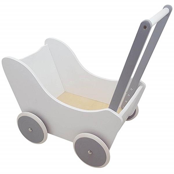 speelgoed voor buiten en binnen witte houten poppenwagen - sassefrasmeisjesspeelgoed